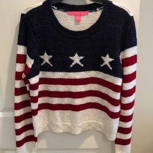 Red white blue sweater with metallic